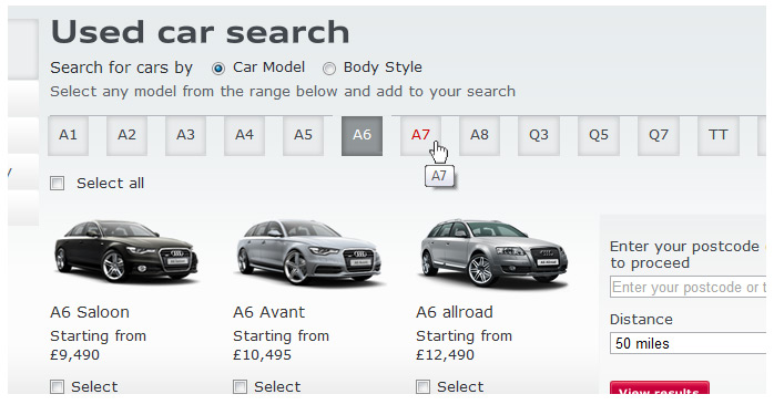 Audi Used Car website menu system with UI navigation indicators