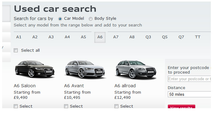 Audi Used Car website menu system without UI navigation indicators