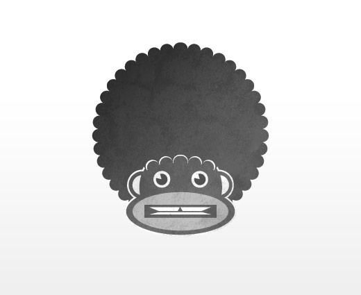 An illustration of a Monkey with a fro